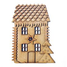 Christmas House Kit Plaque Laser Cut 3mm MDF 13cm tall